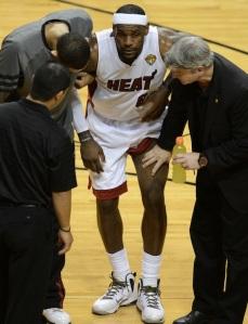 LeBron James of the Miami Heat is examin