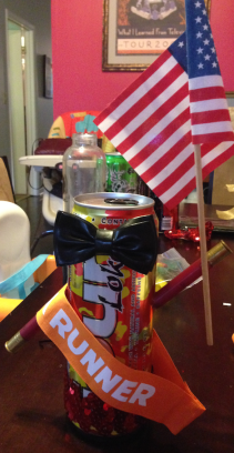 The winner's trophy, made from a can of Four Loko, an American flag and some shotgun shells. 'Merica!